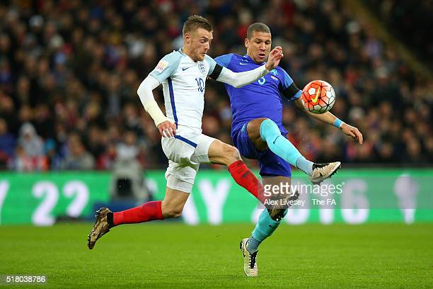 Jamie Vardy of England and Jeffrey Bruma of the Netherlands battle for the ball during the International Friendly match between England and...