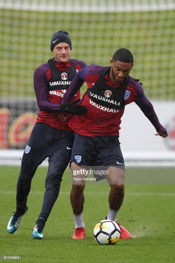 Jamie Vardy of England and Joseph Gomez of England battle for posession during an England training session at St Georges Park on November 7, 2017 in Burton-upon-Trent, England.