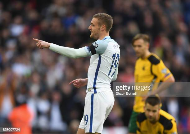 Jamie Vardy of England celebrates after scoring his side's second goal during the FIFA 2018 World Cup Qualifier between England and Lithuania at...