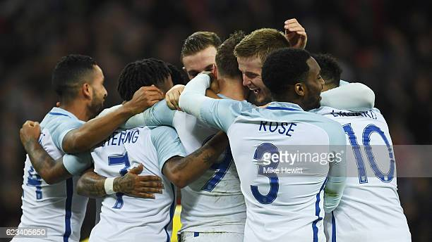 Jamie Vardy of England celebrates as he scores their second goal during the international friendly match between England and Spain at Wembley Stadium...