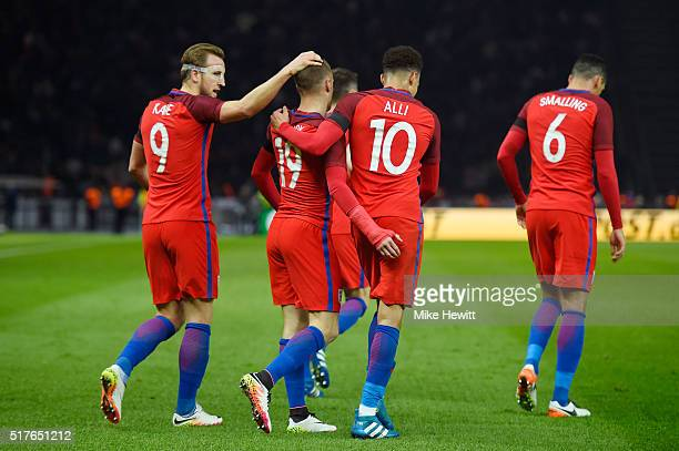Jamie Vardy of England celebrates scoring his team's second goal with his team mates Harry Kane Dele Alli of England during the International...