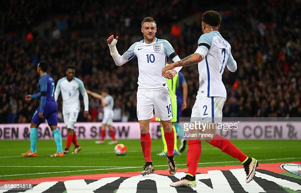 Jamie Vardy of England celebrates scoring the opening goal with Kyle Walker during the International Friendly match between England and Netherlands...