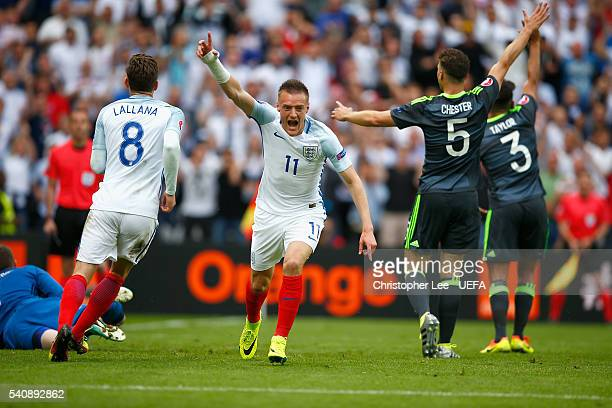 Jamie Vardy of England celebrates scoring their first goal during the UEFA EURO 2016 Group B match between England v Wales at Stade BollaertDelelis...