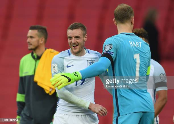 Jamie Vardy of England celebrates with Joe Hart of England following the final whistle during the FIFA 2018 World Cup Qualifier between England and...
