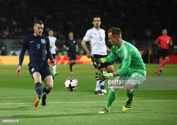Jamie Vardy of England chases after the ball but MarcAndre ter Stegen of Germany collects the ball during the international friendly match between...