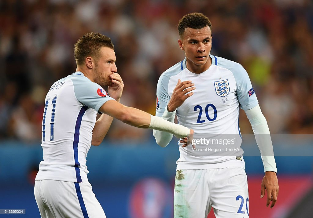 <a gi-track='captionPersonalityLinkClicked' href=/galleries/search?phrase=Jamie+Vardy&family=editorial&specificpeople=8695606 ng-click='$event.stopPropagation()'>Jamie Vardy</a> (L) of England delivers the instuction from the bench to <a gi-track='captionPersonalityLinkClicked' href=/galleries/search?phrase=Dele+Alli&family=editorial&specificpeople=9976958 ng-click='$event.stopPropagation()'>Dele Alli</a> (R) during the UEFA EURO 2016 round of 16 match between England and Iceland at Allianz Riviera Stadium on June 27, 2016 in Nice, France.