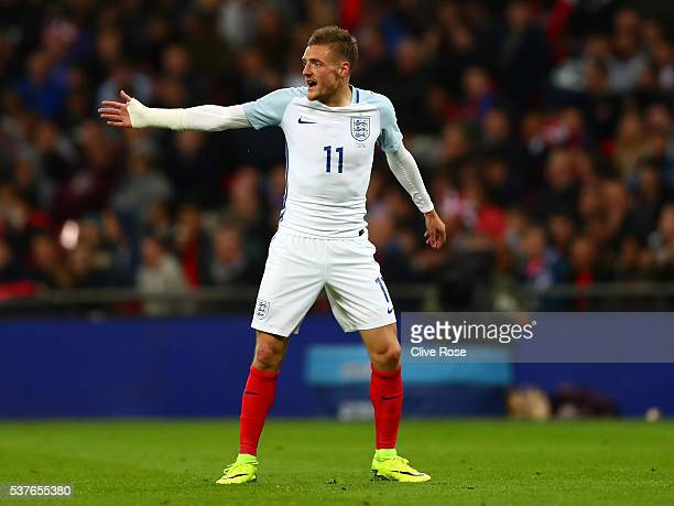 Jamie Vardy of England in action during the international friendly match between England and Portugal at Wembley Stadium on June 2 2016 in London...
