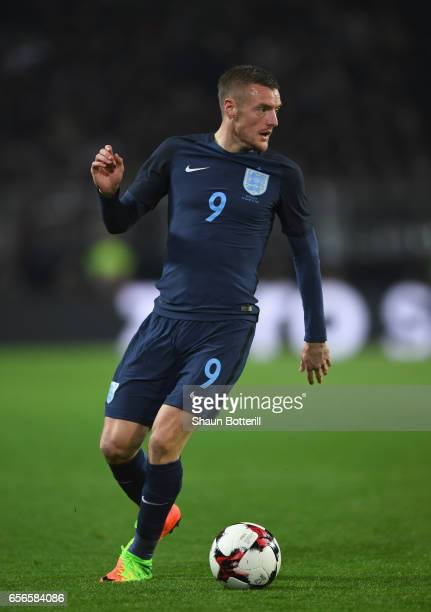 Jamie Vardy of England in action during the international friendly match between Germany and England at Signal Iduna Park on March 22 2017 in...