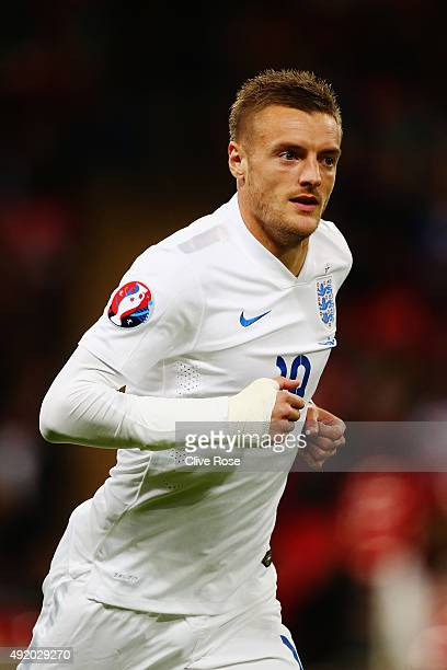 Jamie Vardy of England in action during the UEFA EURO 2016 Group E qualifying match between England and Estonia at Wembley on October 9 2015 in...