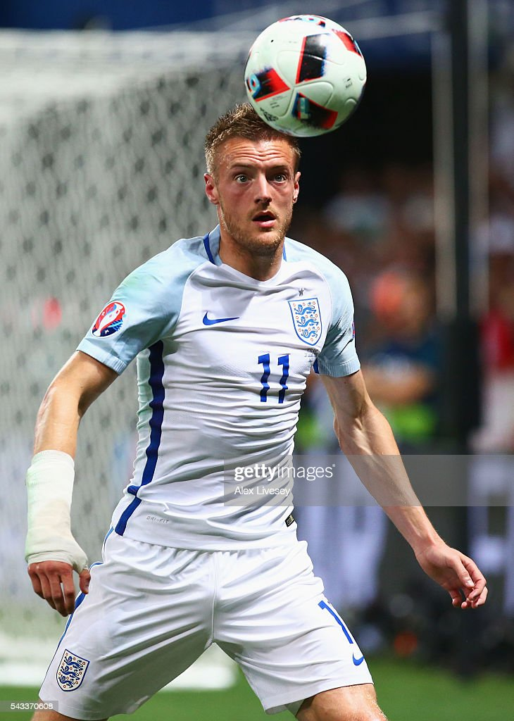 <a gi-track='captionPersonalityLinkClicked' href=/galleries/search?phrase=Jamie+Vardy&family=editorial&specificpeople=8695606 ng-click='$event.stopPropagation()'>Jamie Vardy</a> of England in action during the UEFA EURO 2016 round of 16 match between England and Iceland at Allianz Riviera Stadium on June 27, 2016 in Nice, France.