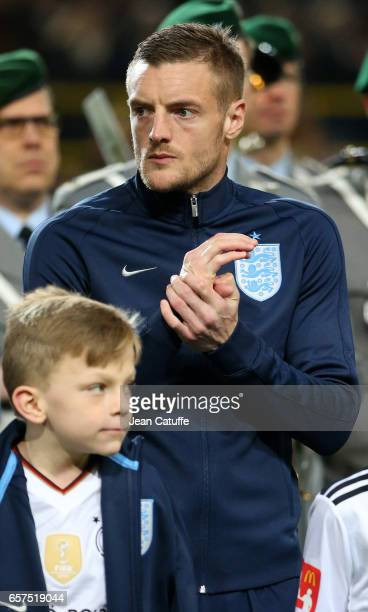 Jamie Vardy of England looks on before the international friendly match between Germany and England at Signal Iduna Park on March 22 2017 in Dortmund...