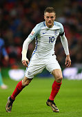 Jamie Vardy of England looks on during the International Friendly match between England and Netherlands at Wembley Stadium on March 29 2016 in London...