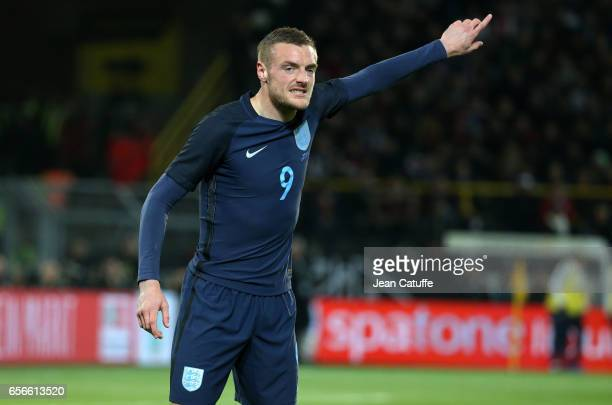 Jamie Vardy of England reacts during the international friendly match between Germany and England at Signal Iduna Park on March 22 2017 in Dortmund...