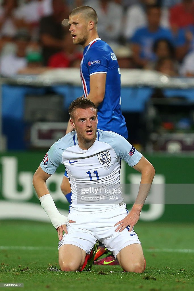 Jamie Vardy of England reacts during the UEFA Euro 2016 Round of 16 match between England and Iceland at Allianz Riviera Stadium on June 27, 2016 in Nice, France.