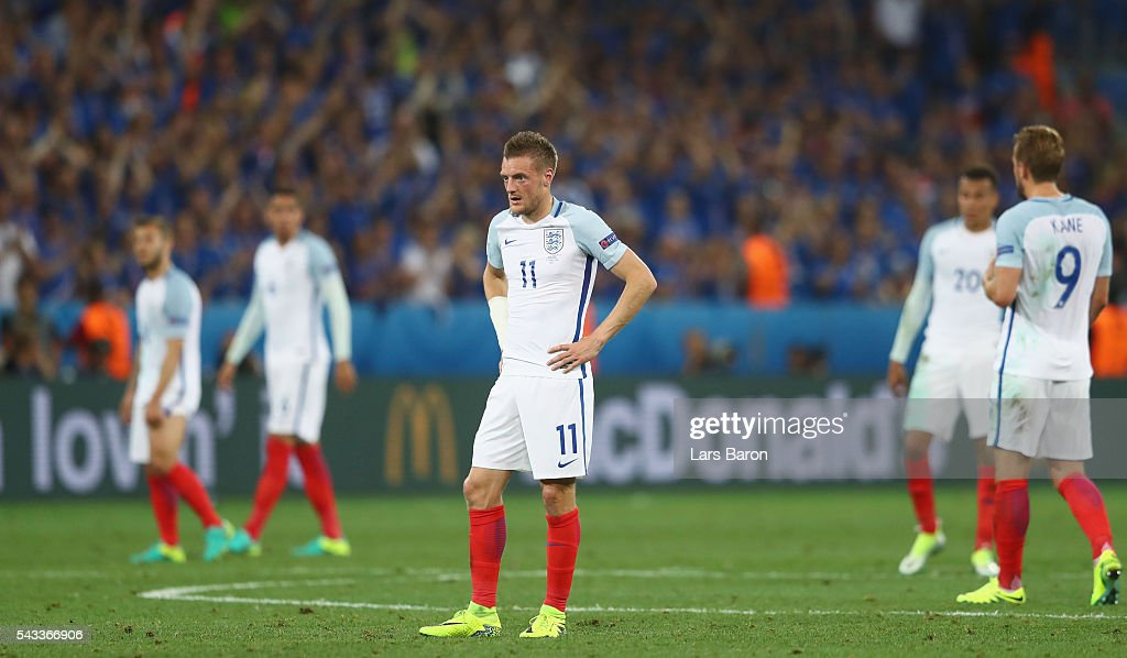 <a gi-track='captionPersonalityLinkClicked' href=/galleries/search?phrase=Jamie+Vardy&family=editorial&specificpeople=8695606 ng-click='$event.stopPropagation()'>Jamie Vardy</a> of England reacts during the UEFA EURO 2016 round of 16 match between England and Iceland at Allianz Riviera Stadium on June 27, 2016 in Nice, France.