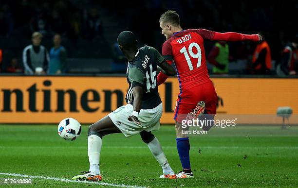 Jamie Vardy of England scores his teams second goal against Antonio Ruediger of Germany during the International Friendly match between Germany and...