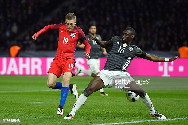 Jamie Vardy of England scores his team's second goal during the International Friendly match between Germany and England at Olympiastadion on March...