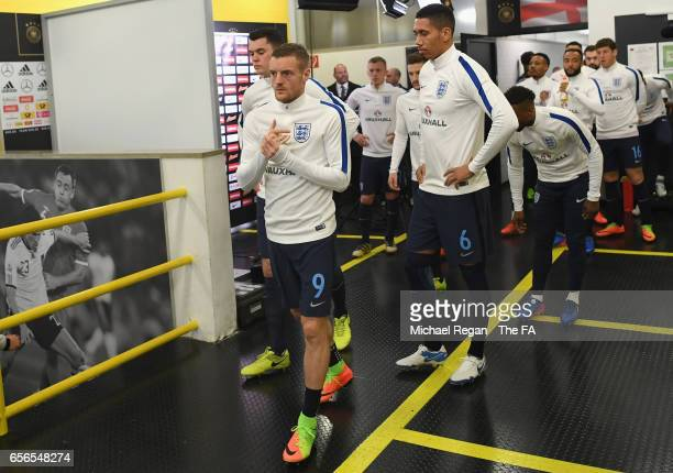 Jamie Vardy of England walks out to warm up prior to the international friendly match between Germany and England at Signal Iduna Park on March 22...