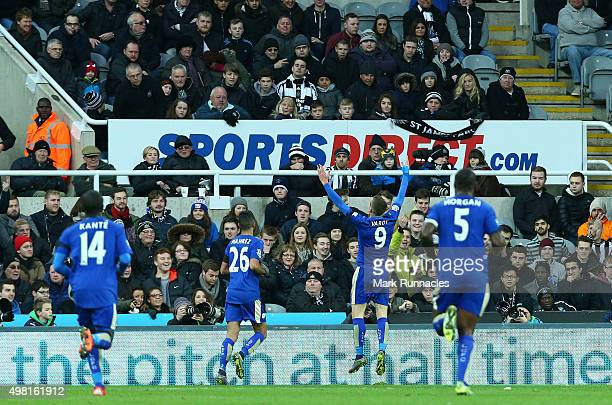 Jamie Vardy of Leicester celebrates scoring in the first half equaling Ruud Van Nistelrooy's Premier League record of ten consecutive goal in ten...