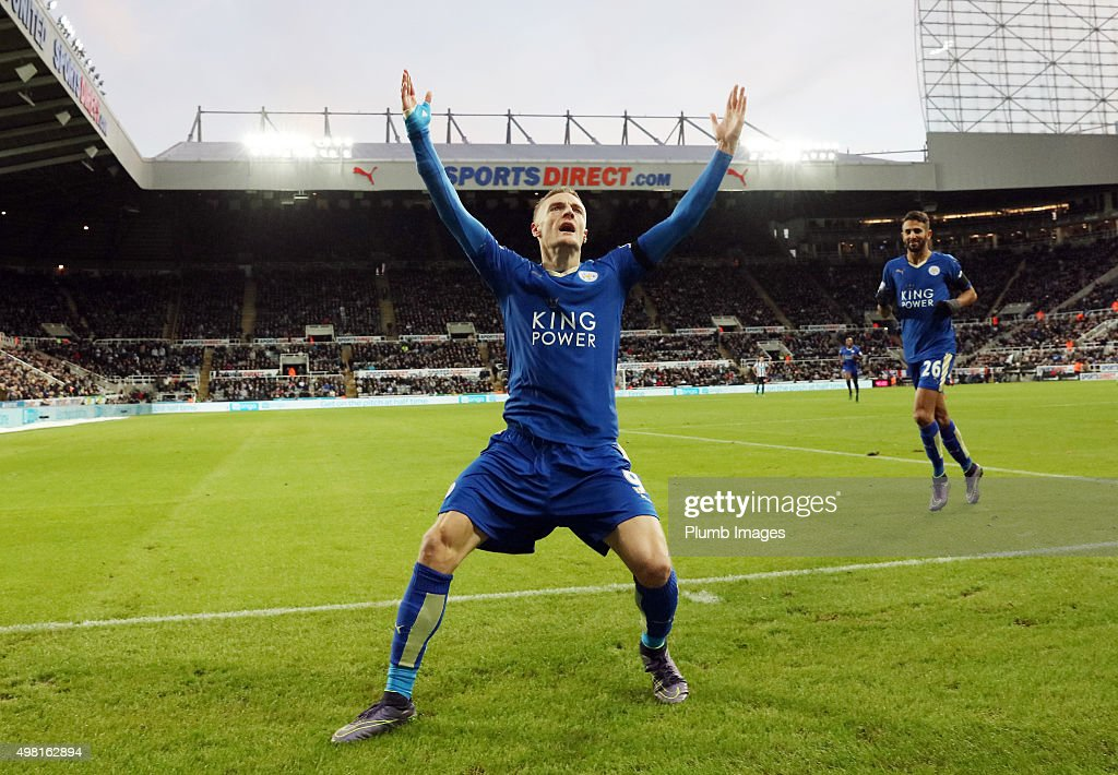 Jamie Vardy of Leicester City after scoring to equal Ruud Van Nistelrooy's record of scoring in 10 consecutive premier league matches during the Premier League match between Newcastle United and Leicester City at St. James' Park on November 21, 2015 in Newcastle upon Tyne , United Kingdom.