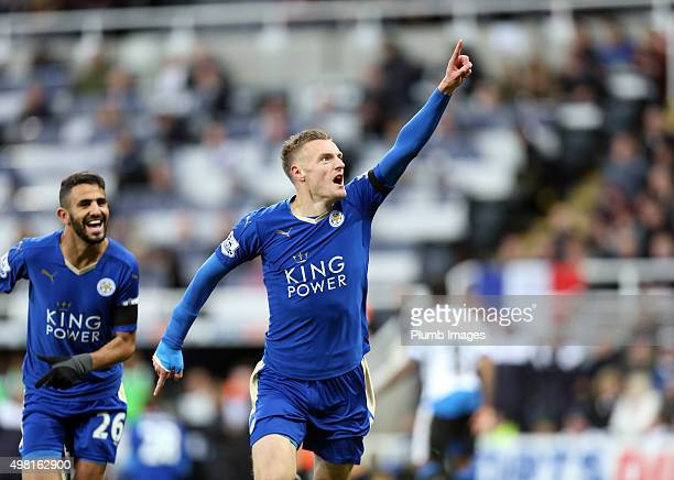 Jamie Vardy of Leicester City after scoring to equal Ruud Van Nistelrooy's record of scoring in 10 consecutive premier league matches during the...