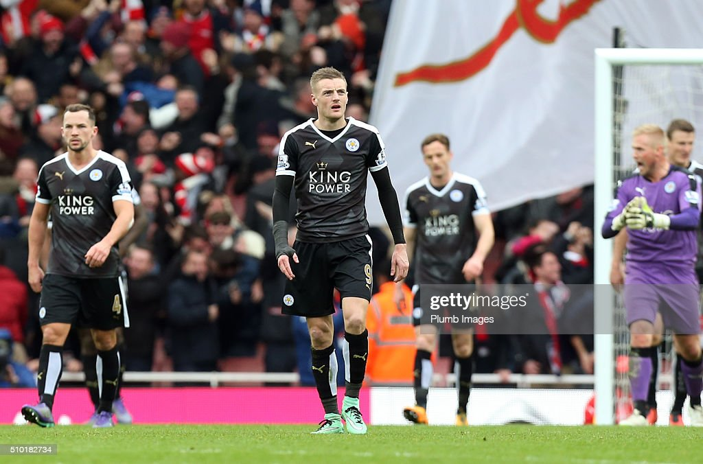 <a gi-track='captionPersonalityLinkClicked' href=/galleries/search?phrase=Jamie+Vardy&family=editorial&specificpeople=8695606 ng-click='$event.stopPropagation()'>Jamie Vardy</a> of Leicester City after the Premier League match between Arsenal and Leicester City at Emirates Stadium on February 14, 2016 in London, United Kingdom.