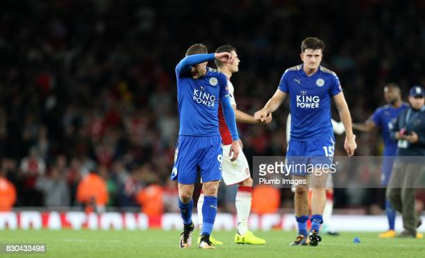 Jamie Vardy of Leicester City after the Premier League match between Arsenal and Leicester City at Emirates Stadium on August 11th 2017 in London...