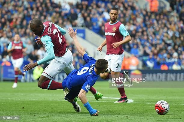 Jamie Vardy of Leicester City and Angelo Ogbonna Obinza of West Ham United collide leading to Jamie Vardy receiving his second yellow card during the...