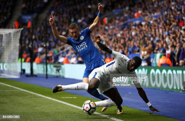 Jamie Vardy of Leicester City and Antonio Rudiger of Chelsea battle for possession during the Premier League match between Leicester City and Chelsea...