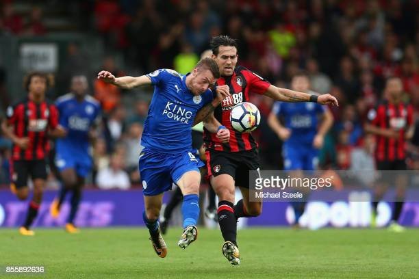 Jamie Vardy of Leicester City and Charlie Daniels of AFC Bournemouth compete for the ball during the Premier League match between AFC Bournemouth and...