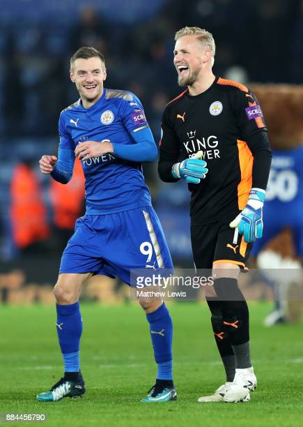 Jamie Vardy of Leicester City and Kasper Schmeichel of Leicester City celebrates after the Premier League match between Leicester City and Burnley at...