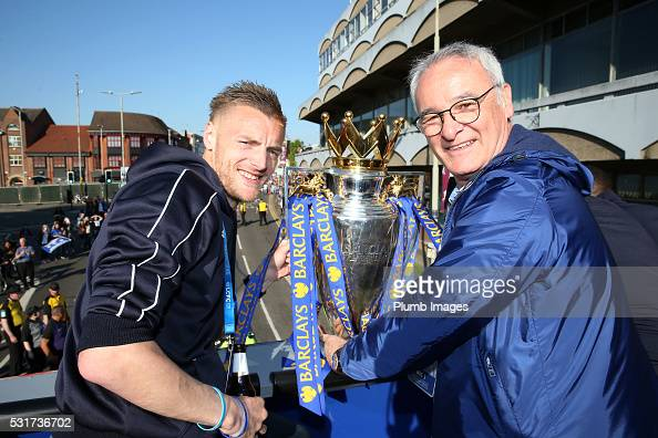 Jamie Vardy of Leicester City and manager Claudio Ranieri of Leicester City pose with the trophy during the Leicester City Barclays Premier League...