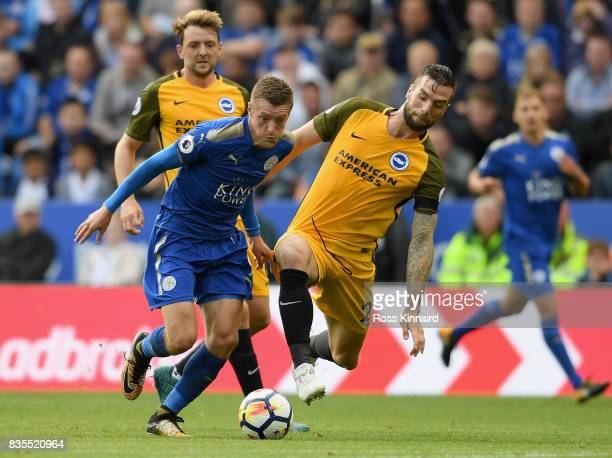Jamie Vardy of Leicester City and Shane Duffy during the Premier League match between Leicester City and Brighton and Hove Albion at The King Power...