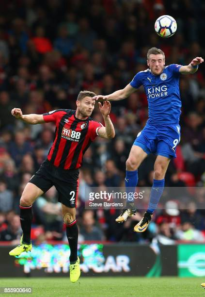 Jamie Vardy of Leicester City and Simon Francis of AFC Bournemouth compete for the ball during the Premier League match between AFC Bournemouth and...