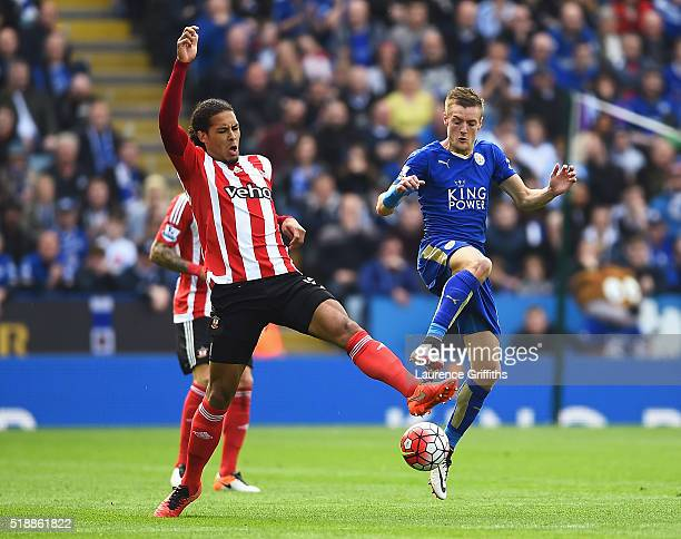 Jamie Vardy of Leicester City and Virgil van Dijk of Southampton battle for the ball during the Barclays Premier League match between Leicester City...
