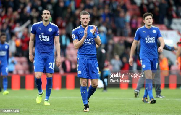 Jamie Vardy of Leicester City applauds the travelling fans after the Premier League match between Bournemouth and Leicester City at Vitality Stadium...
