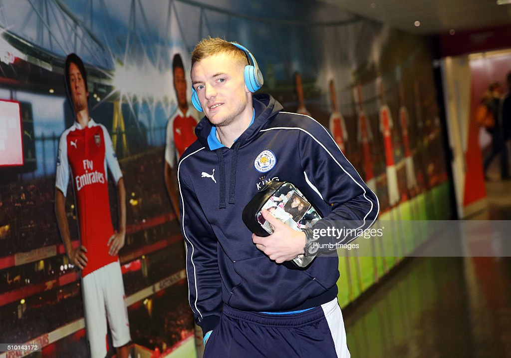<a gi-track='captionPersonalityLinkClicked' href=/galleries/search?phrase=Jamie+Vardy&family=editorial&specificpeople=8695606 ng-click='$event.stopPropagation()'>Jamie Vardy</a> of Leicester City arrives at Emirates Stadium ahead of the Barclays Premier League match between Arsenal and Leicester City at Emirates Stadium on February 14, 2016 in London, United Kingdom.