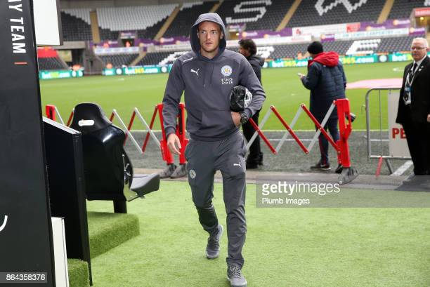Jamie Vardy of Leicester City arrives at Liberty Stadium ahead of the Premier League match between Swansea City and Leicester City at Liberty Stadium...
