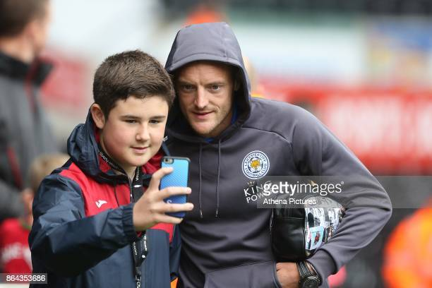 Jamie Vardy of Leicester City arrives at Liberty Stadium prior to kick off of the Premier League match between Swansea City and Leicester City at The...