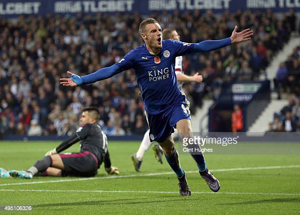 Jamie Vardy of Leicester City celebrates after he scores the third goal of the game for his side during the Barclays Premier League match between...