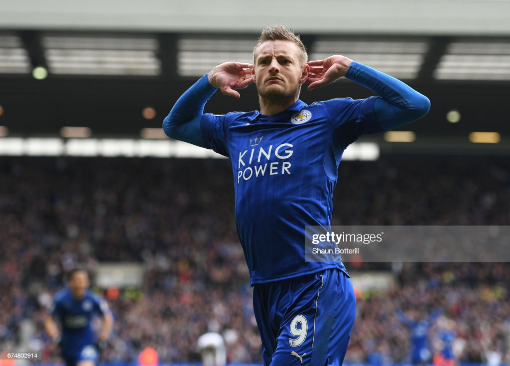 Jamie Vardy of Leicester City celebrates after scoring his sides first goal during the Premier League match between West Bromwich Albion and Leicester City at The Hawthorns on April 29, 2017 in West Bromwich, England.