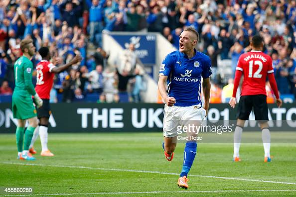 Jamie Vardy of Leicester City celebrates after scoring his team's fourth goal during the Barclays Premier League match between Leicester City and...