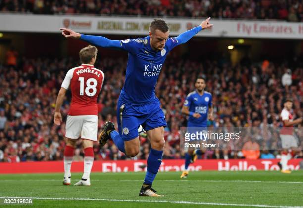 Jamie Vardy of Leicester City celebrates after scoring his team's second goal during the Premier League match between Arsenal and Leicester City at...