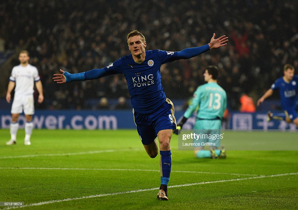 Jamie Vardy of Leicester City celebrates after scoring the opening goal during the Barclays Premier League match between Leicester City and Chelsea...