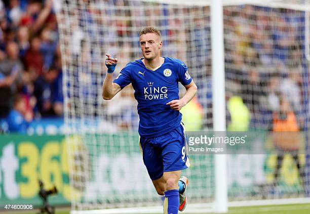 Jamie Vardy of Leicester City celebrates after scoring to make it 10 during the Barclays Premier League match between Leicester City and Queens Park...