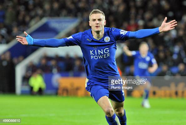 Jamie Vardy of Leicester City celebrates after scoring to make it 10 and beat Ruud Van Nistelrooy's record during the Barclays Premier League match...