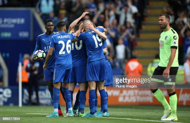 Jamie Vardy of Leicester City celebrates after scoring to make it 11 during the Premier League match between Leicester City and Bournemouth at King...