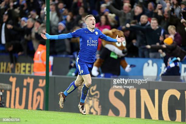 Jamie Vardy of Leicester City celebrates after scoring to make it 20 during the Barclays Premier League match between Leicester City and Liverpool at...