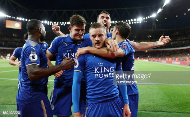 Jamie Vardy of Leicester City celebrates after scoring to make it 23 during the Premier League match between Arsenal and Leicester City at Emirates...