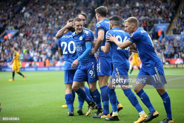 Jamie Vardy of Leicester City celebrates after Shinji Okazaki of Leicester City scores to make it 10 during the Premier League match between...